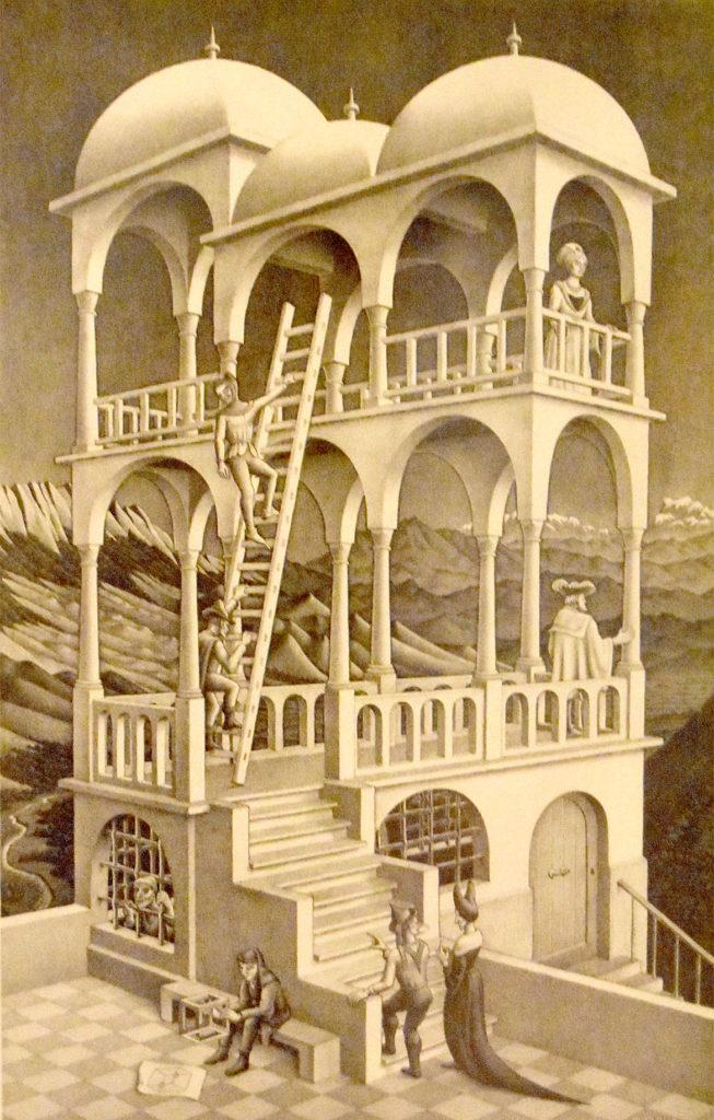 """M.C. Escher """"Belvedere"""" 1958 lithograph. (Greg Cook)"""