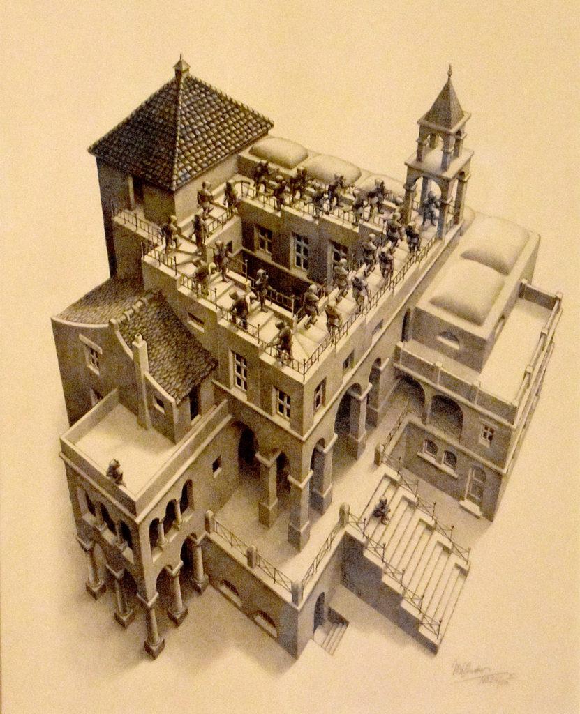 "M.C. Escher ""Ascending and Descending"" 1960 lithograph. (Greg Cook)"