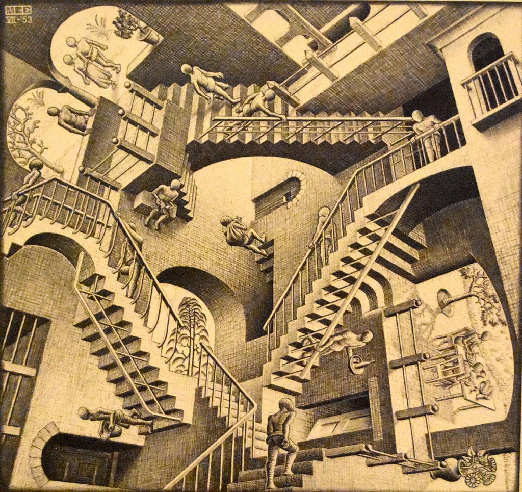 """M.C. Escher """"Relativity"""" 1953 lithograph. (Greg Cook)"""