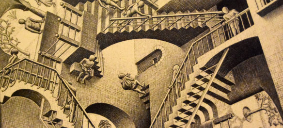 "M.C. Escher ""Relativity"" 1953 lithograph. (Greg Cook)"