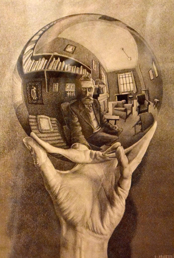 "M.C. Escher ""Hand with Reflecting Sphere"" 1935 lithograph. (Greg Cook)"