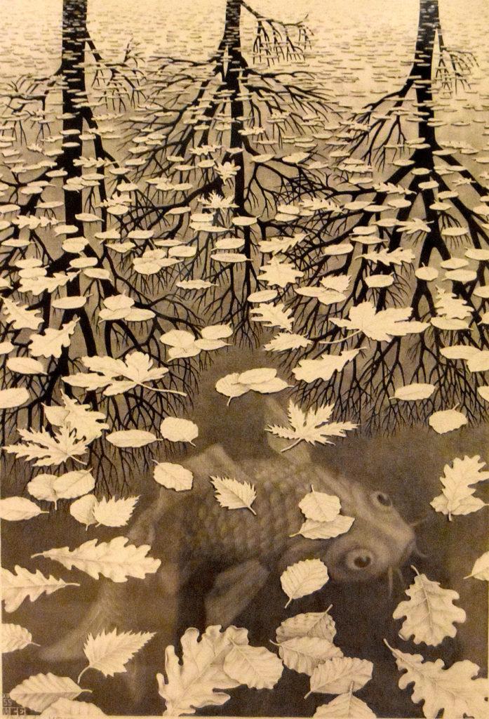 """M.C. Escher """"Three Worlds"""" 1955 lithograph. (Greg Cook)"""