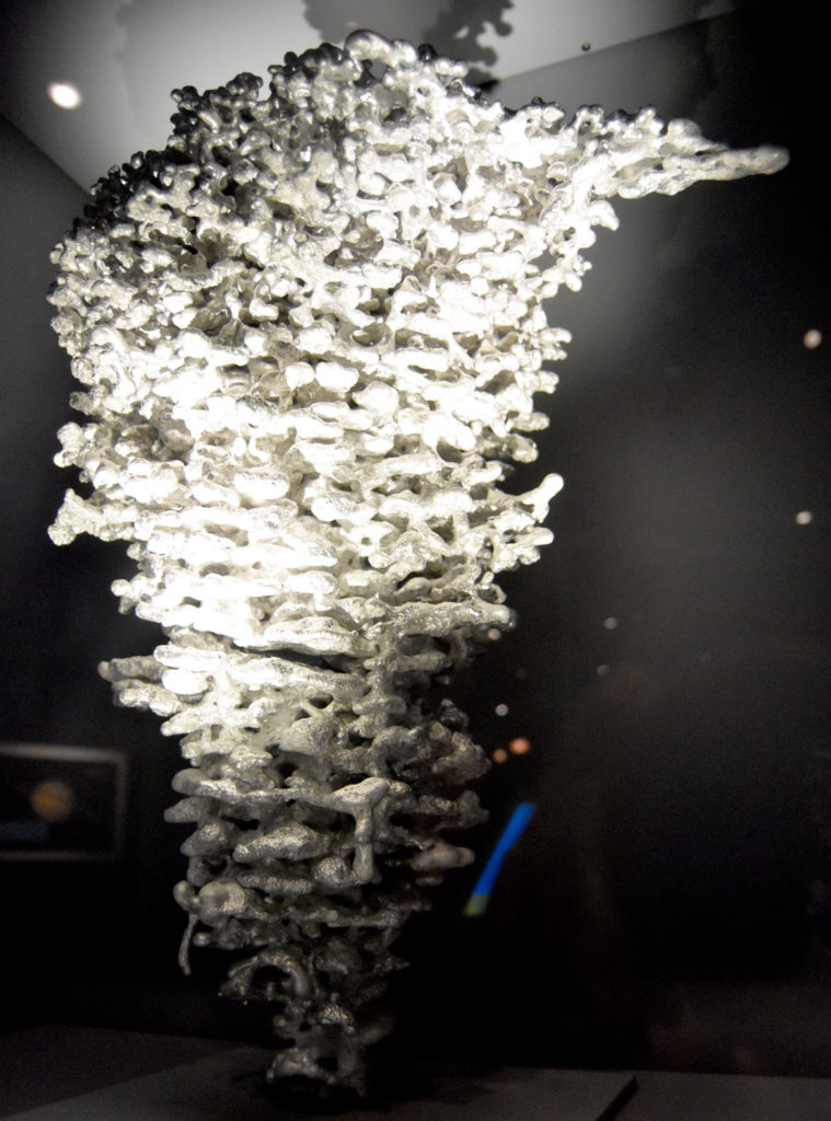 """An aluminum casting of an anthill by Alabama farmer-turned-sculptor David Gatlin at the Boston Museum of Science exhibit """"A Mirror Maze."""" (Greg Cook)"""