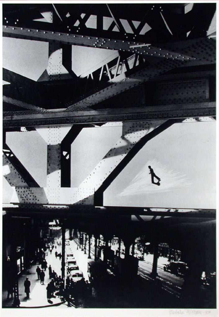 "Barbara Morgan, ""Third Avenue El,"" 1936, Gelatin silver print, 17 x 11 7/8 inches. (Courtesy of the Syracuse University Art Collection)"