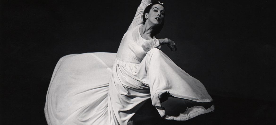 "Barbara Morgan, ""Martha Graham: Letter to the World (Swirl),"" 1935, gelatin silver print, 13 5/8 x 15 5/8 inches. (Courtesy of the Syracuse University Art Collection)"