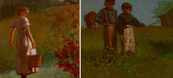 "Winslow Homer's 1874 oil paintings ""Returning from the Spring"" (left) and ""Young Farmers (Study for Weaning the Calf."" (Portland Museum of Art)"