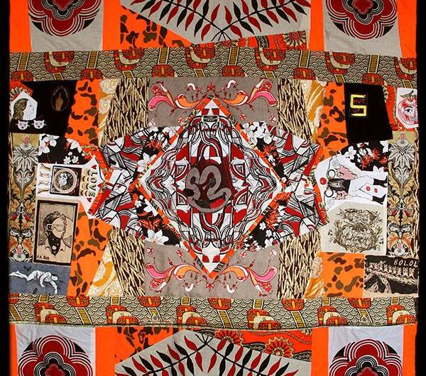 "Xander Marro ""Nebraska 1, ""2015, quilted and Silkscreened fabric with embroidered patches. From group exhibition ""Con/textile/ized"" at Jamestown Arts Center, Rhode Island. (Courtesy)"