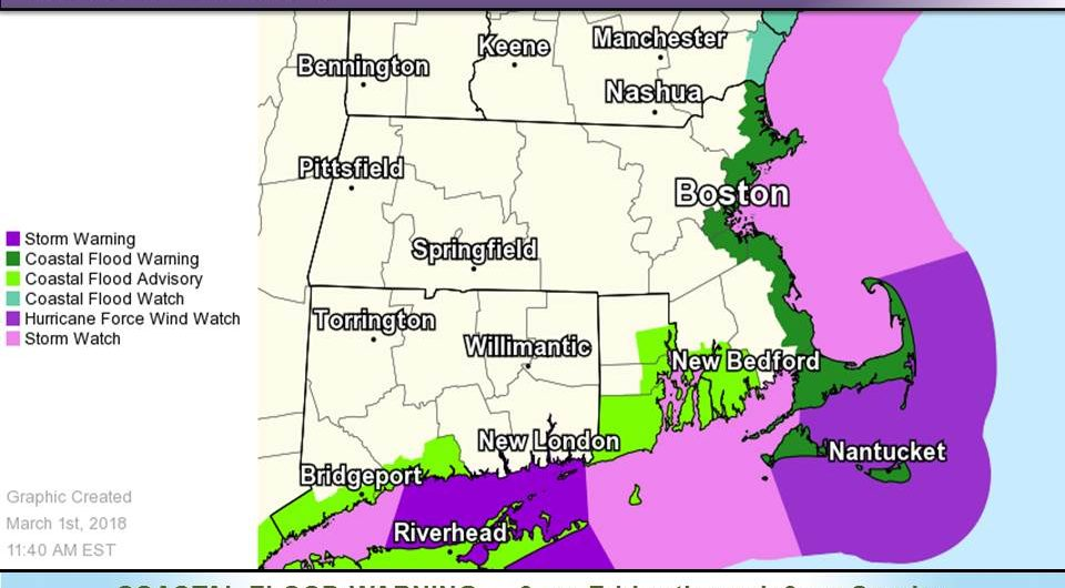 Nor'easter forecast, March 1, 2018.