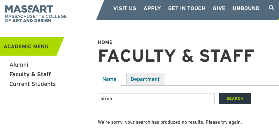 Nicholas Nixon no longer turns up in searches of MassArt faculty on the school's website. (Greg Cook)