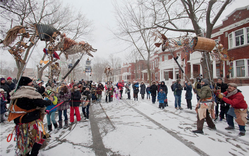 """Les Bêtes dansent ou le sortilège discret de la nature sauvage"" (""The Dancing Beasts or the Discreet Spell of the Wild"") by La Liga Teatro Elastico at the Festival de Casteliers, Montreal, March 8, 2018. (Marc Gibert / Adecom)"