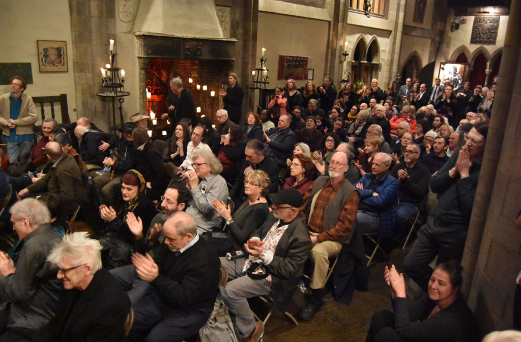 The memorial for Gerrit Lansing at Gloucester's Hammond Castle, Feb. 24, 2018. (Greg Cook)