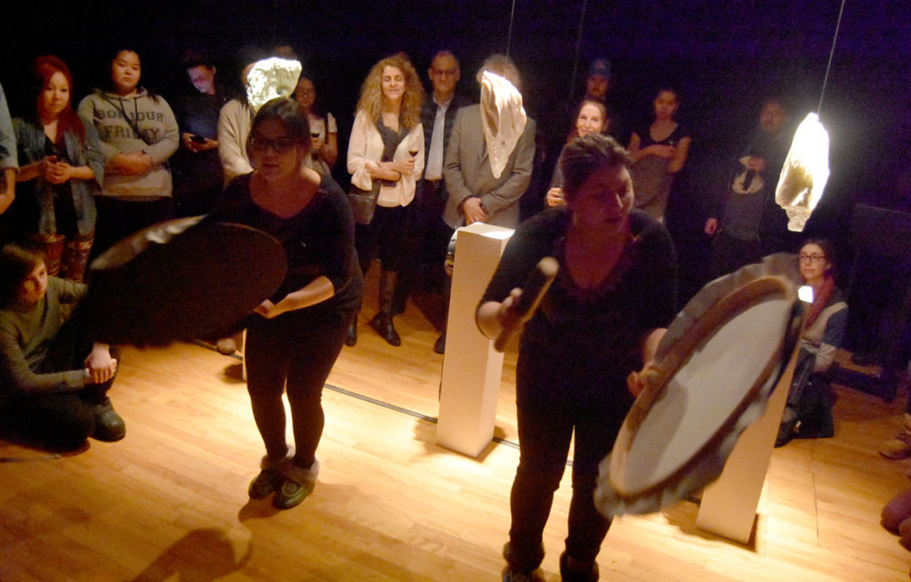 """ᑲᑕᔾᔭᐅᓯᕙᓪᓛᑦ Katajjausivallaat, le rythme bercé"" by Nunavik performer Nancy Saunders at Montreal's 13th annual Festival de Casteliers, March 9, 2018. (Greg Cook)"