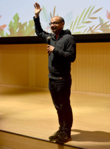 Junot Diaz speaks at the Boston Public Library, March 25, 2018. (Greg Cook)