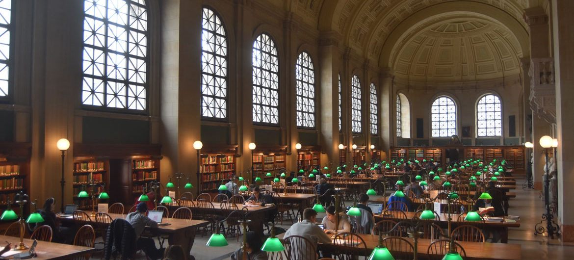 Reading Room at Boston Public Library at Copley Square, March 25, 2018. (Greg Cook)