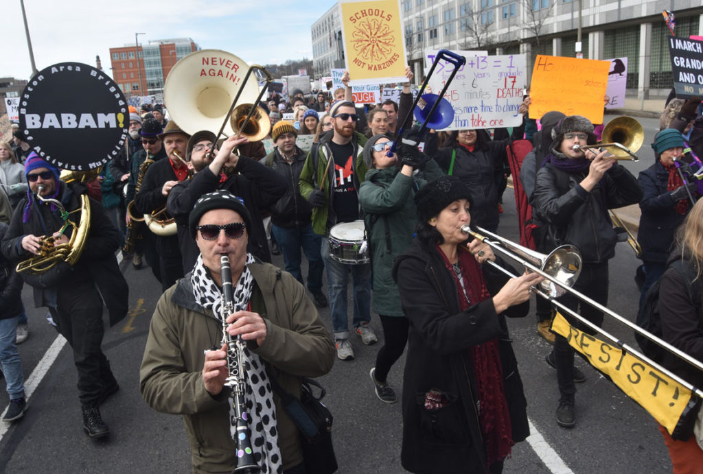 Babam performs in the March For Our Lives: Boston, March 24, 2018. (Greg Cook)