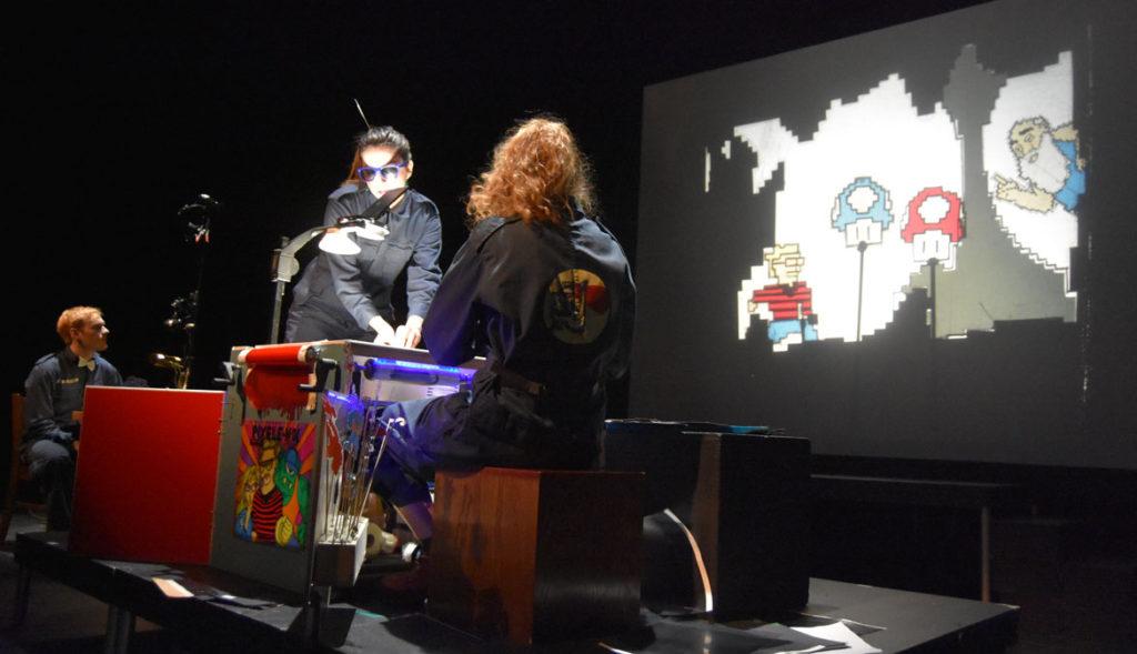 """Pixele-Moi"" by Théâtre RétroColectivo at Montreal's 13th annual Festival de Casteliers, March 10, 2018. (Greg Cook)"