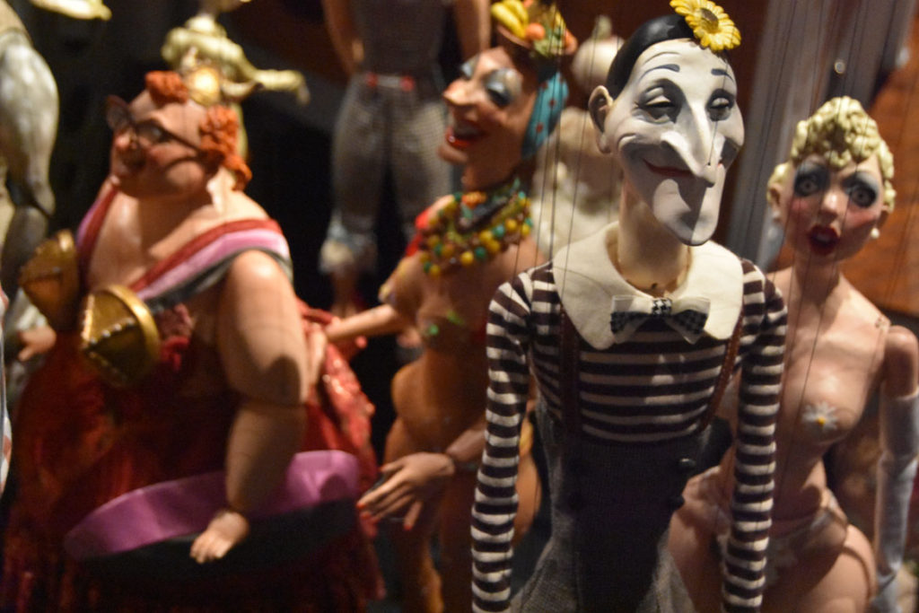"Marionettes backstage after Ronnie Burkett's ""The Daisy Theater"" in Montreal, March 8, 2018. (Greg Cook)"