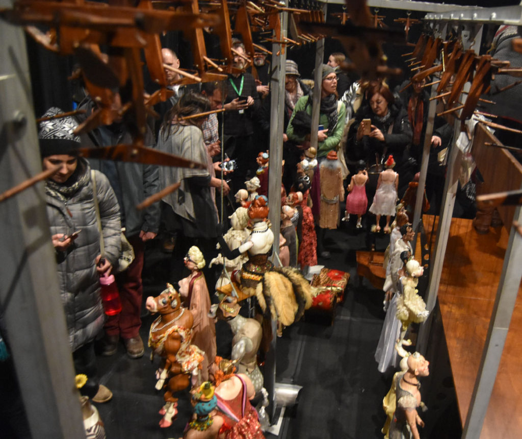 "Some 43 marionettes arrayed backstage for Ronnie Burkett's ""The Daisy Theater"" in Montreal, March 8, 2018. (Greg Cook)"