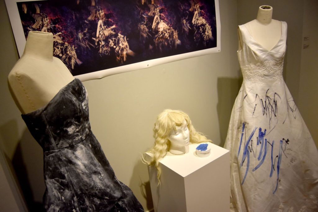 "Dell M. Hamilton ""Wedding dress, black prom dress and blonde wig used in a performance of 'Blues\Blank\Black' at Five Myles Gallery in Brookly, 2016, and the 808 Gallery, Boston University, 2017."""