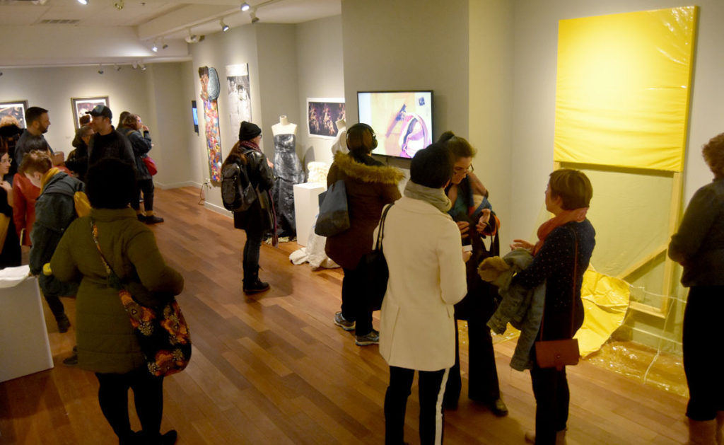 "Opening reception for ""SayHerName: Watch Us WERK"" at Lesley University College of Art and Design's VanDernoot Gallery in Cambridge, March 29, 2018. (Greg Cook)"