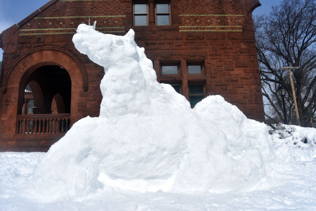 Snow unicorn by Greg Cook at Malden Library, March 14, 2018. (Greg Cook)