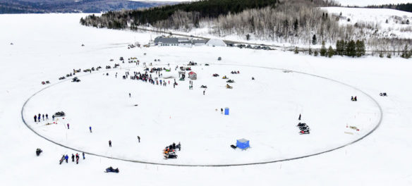 Paul Cyr's photo of the giant ice carousel cut in Long Lake, near the village of Sinclair, Maine, April 2018.