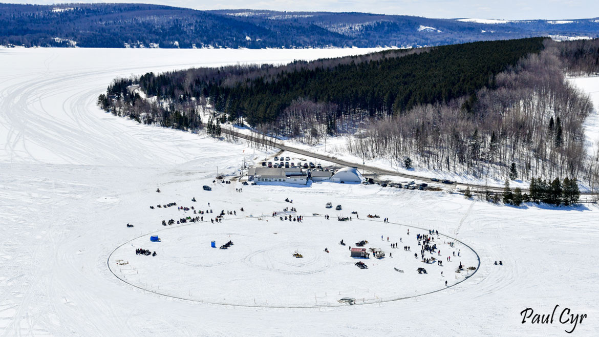 Paul Cyr's photo (above and at top) of giant ice carousel cut in Long Lake, near the village of Sinclair, Maine, April 2018.