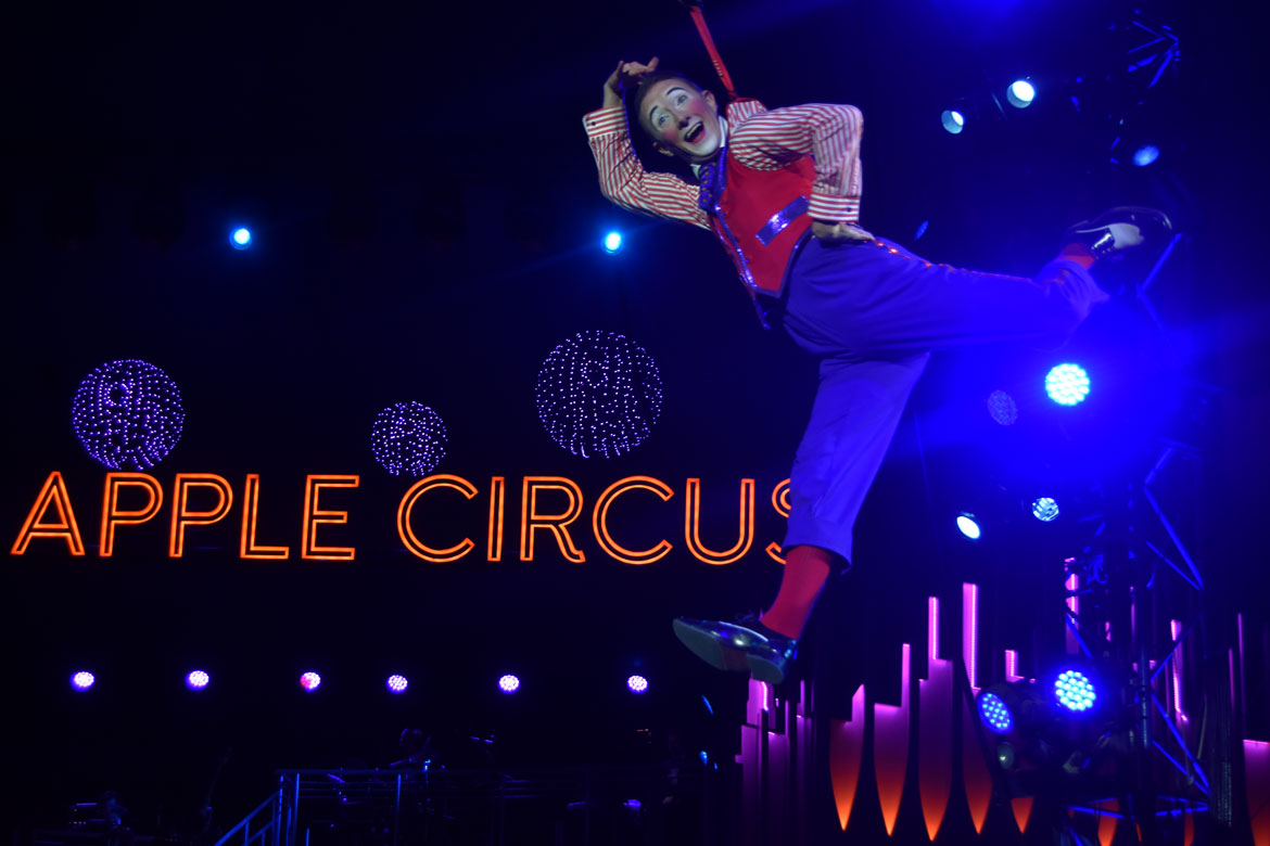 Clown Brent McBeth flies over the ring during the Big Apple Circus. (Greg Cook)