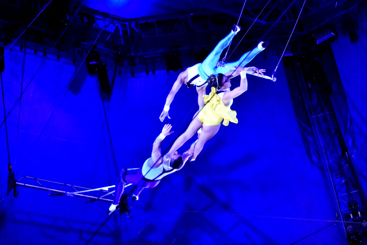 The Flying Tunizianis trapeze troupe performs during the Big Apple Circus. (Greg Cook)