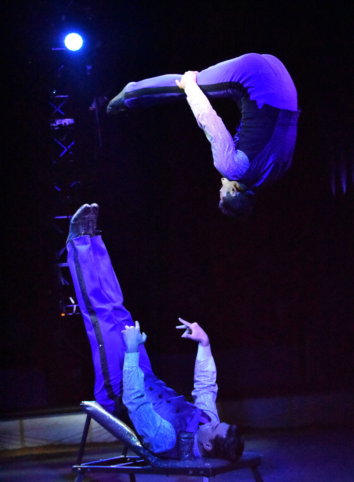 Brothers Guiliano and Fabio Anastasini perform their Risley act—acrobatics in which one seemingly juggles the other with his feet—during the Big Apple Circus. (Greg Cook)
