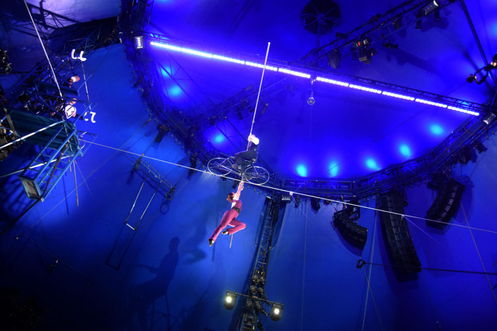 The Big Apple Circus' high-wire act featuring couple Nik and Erendira Wallenda in Somerville, April 11, 2018. (Greg Cook)