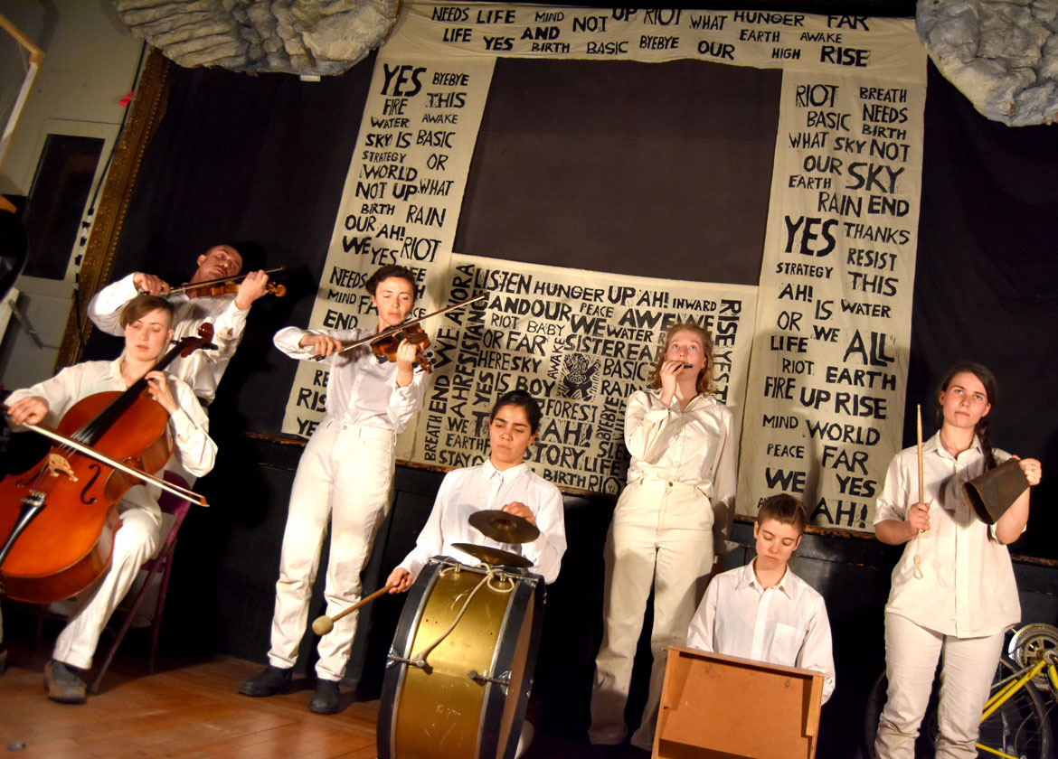 "Bread and Puppet Theater's ""The Basic Bye-bye Show"" at Spontaneous Celebrations in Boston, April 21, 2018. (Greg Cook)"