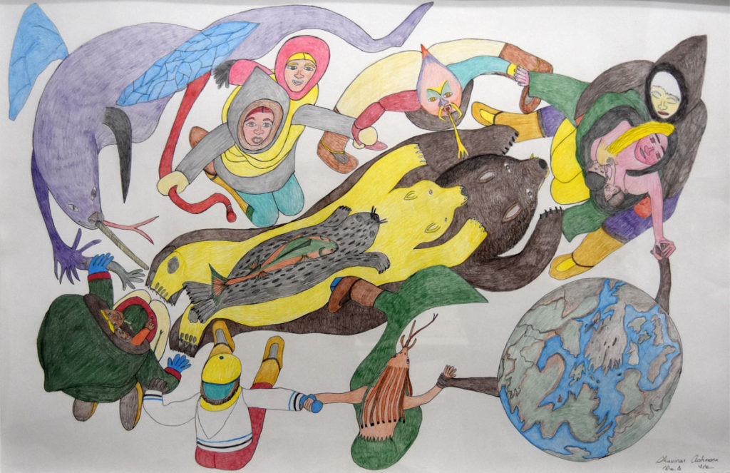 "Shuvinai Ashoona ""Composition (People, Animals and the World Holding Hands),"" 2008, ink and colored pencil."