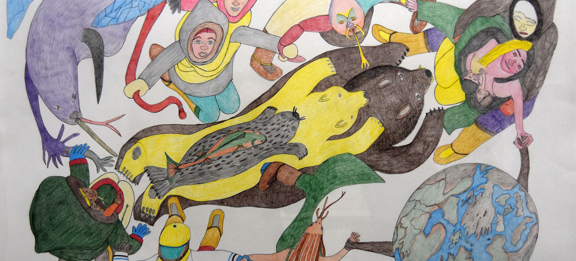 """Shuvinai Ashoona """"Composition (People, Animals and the World Holding Hands),"""" 2008, ink and colored pencil."""