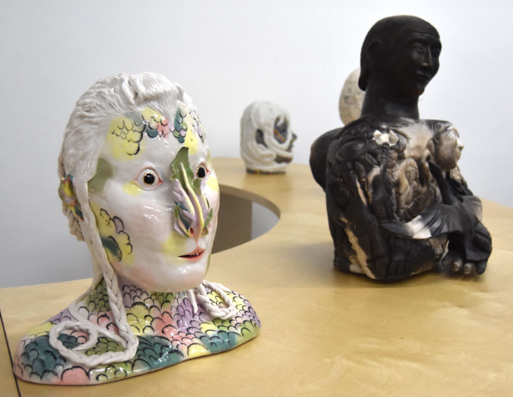 "Shary Boyle ""The Mute"" (at left), 2012, porcelain, china paint, lustre. (Greg Cook)"