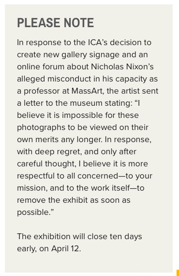 The ICA's April 11 announcement on its website that it is ending its Nicholas Nixon exhibit early. (Greg Cook)