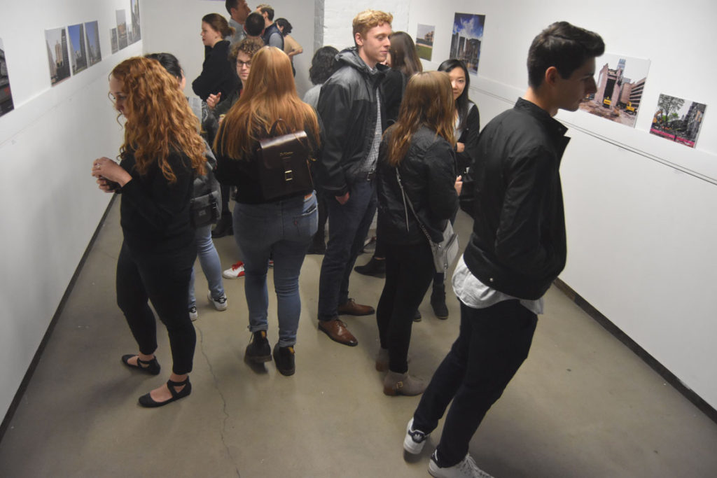 "Opening reception for ""Brutal Destruction"" exhibition at Pinkcomma gallery in Boston, April 12, 2018. (Greg Cook)"