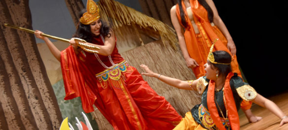 """Stage Ensemble Theater Unit (SETU) rehearses Girish Karnad's 1995 play """"The Fire and the Rain"""" at Belmont Town Hall, April 26, 2018. (Greg Cook)"""