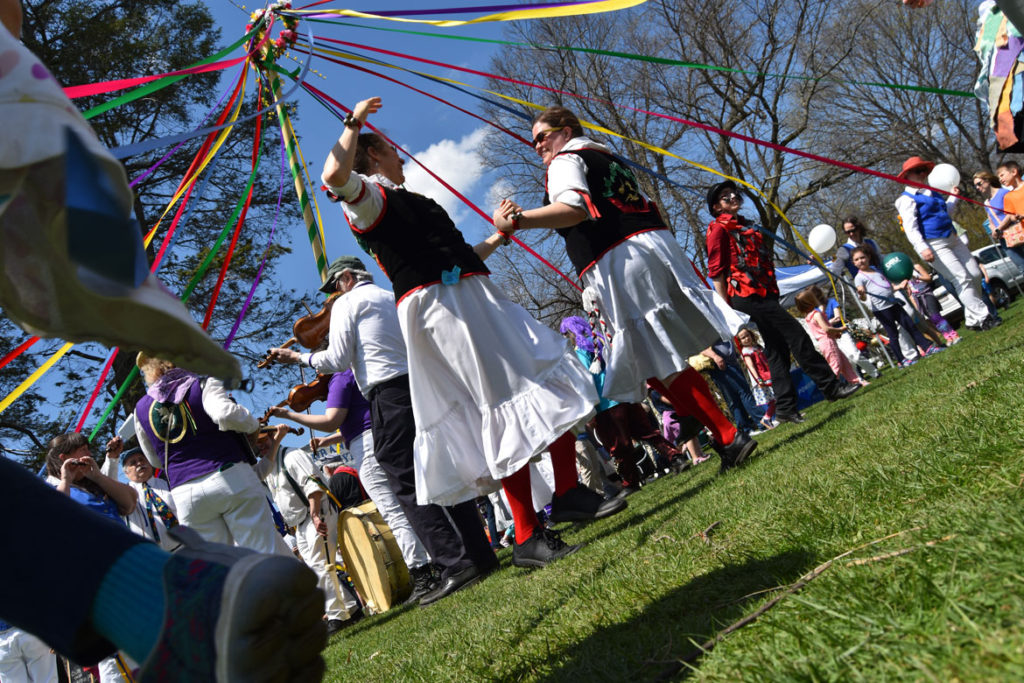 Maypole dance at the Sheepshearing Festival at Gore Place, Waltham, April 28, 2018. (Greg Cook)