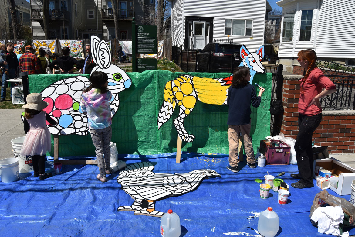 Painting mosaic-style animals designed by muralist Liz LaManche (right) at the Starting Over Festival, Somerville, April 22, 2018. (Greg Cook)