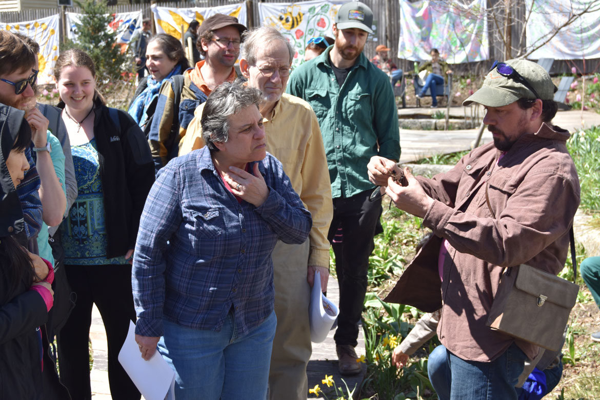 Jef C. Taylor (right) leads a nature walk at the Starting Over Festival, Somerville, April 22, 2018. (Greg Cook)