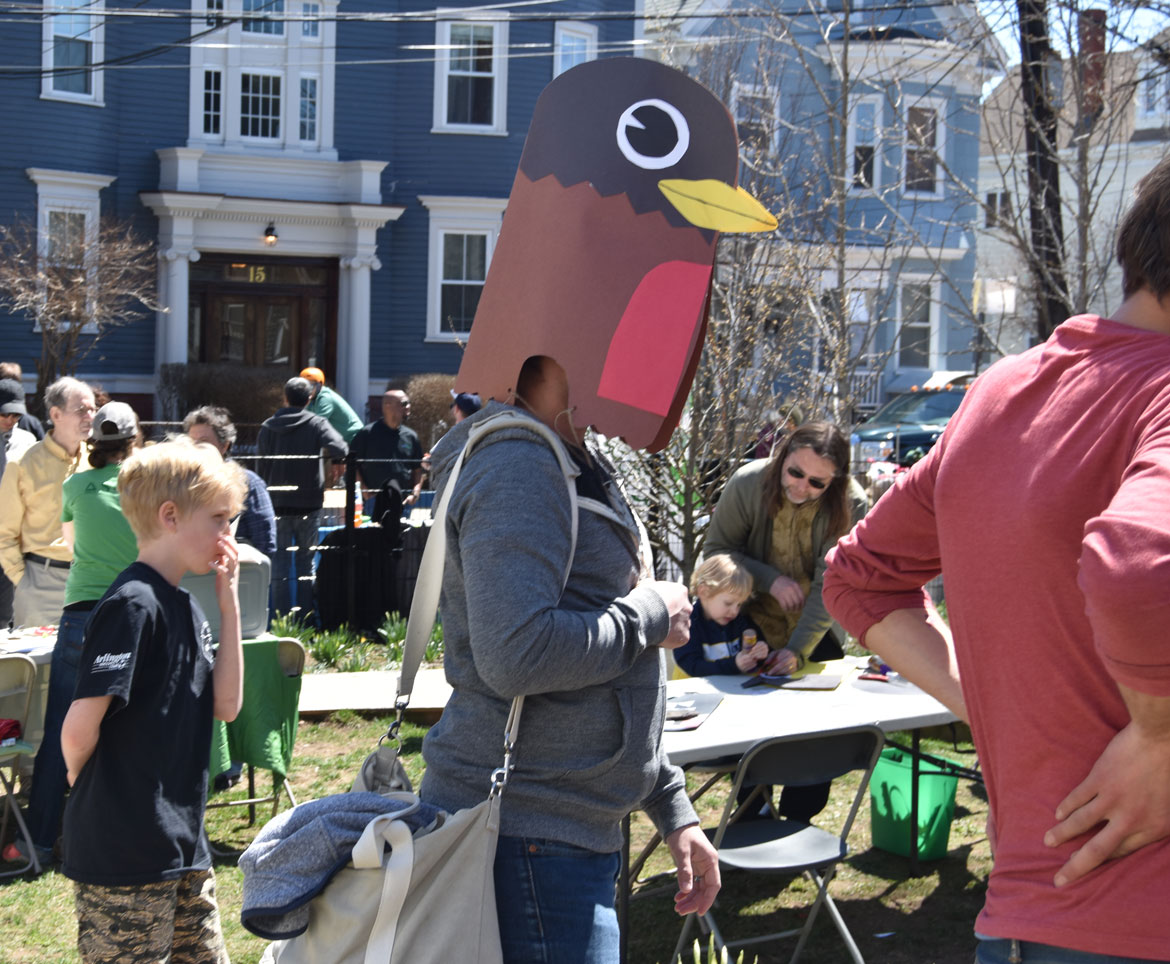 Bird mask made with artist Kari Percival at the Starting Over Festival, Somerville, April 22, 2018. (Greg Cook)