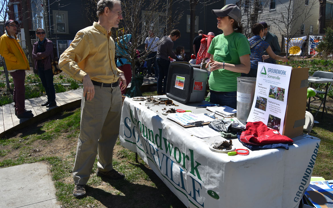 Learning about worm-bin composting from Groundwork Somerville at the Starting Over Festival, Somerville, April 22, 2018. (Greg Cook)