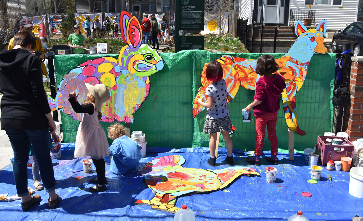 Painting mosaic-style animals designed by muralist Liz LaManche at the Starting Over Festival, Somerville, April 22, 2018. (Greg Cook)