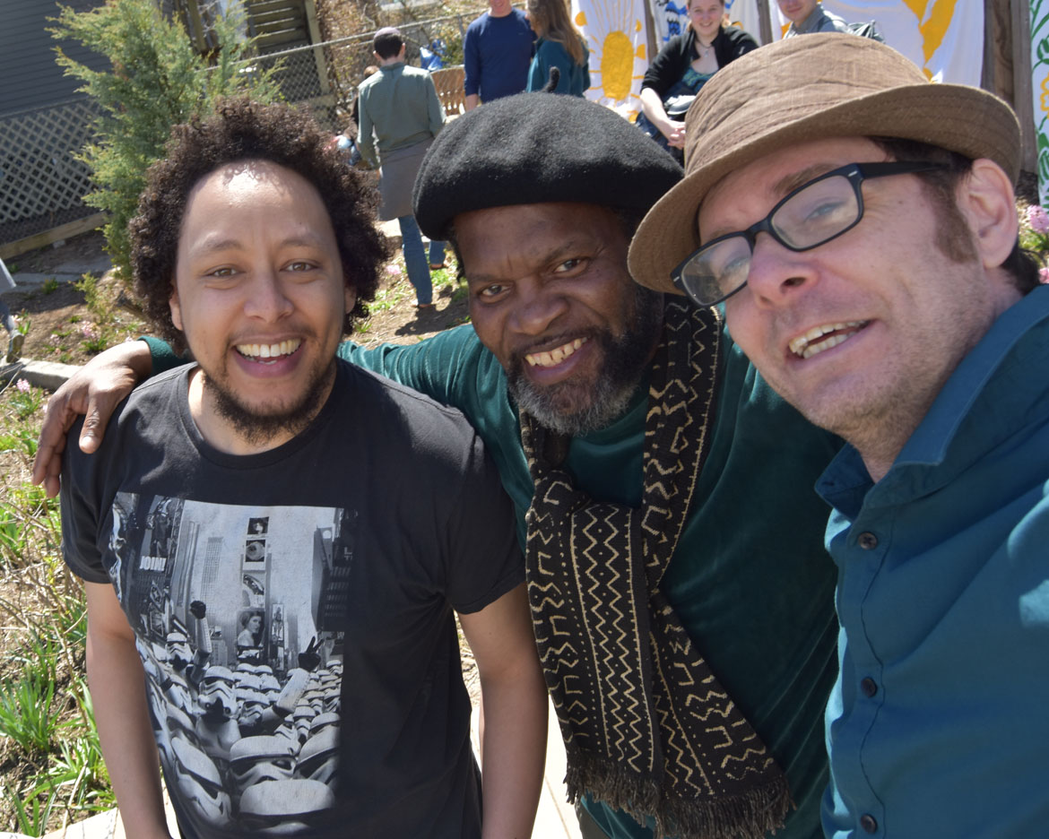 Marshall Gillson (from left), Eddy Toussaint Tontongi and Greg Cook at the Starting Over Festival, Somerville, April 22, 2018. (Greg Cook)
