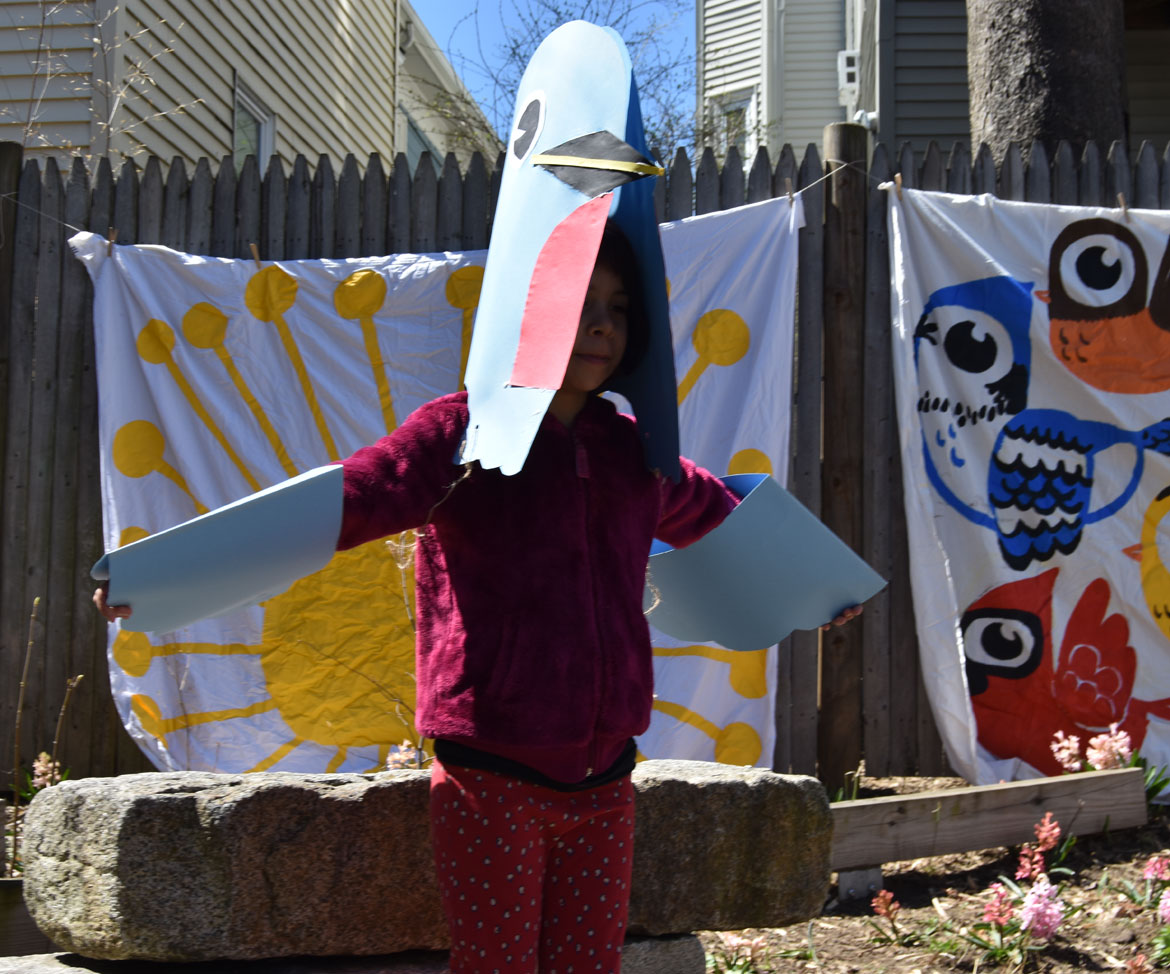 Bird costume made with artist Kari Percival at the Starting Over Festival, Somerville, April 22, 2018. (Greg Cook)