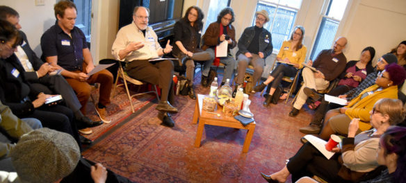 Arts journalism forum at Outpost 186 in Cambridge, May 7, 2018. (Greg Cook)