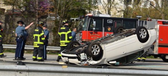Car Roll-Over On Route 93 Near Reading-Woburn Line, May 8, 2018. (Greg Cook)