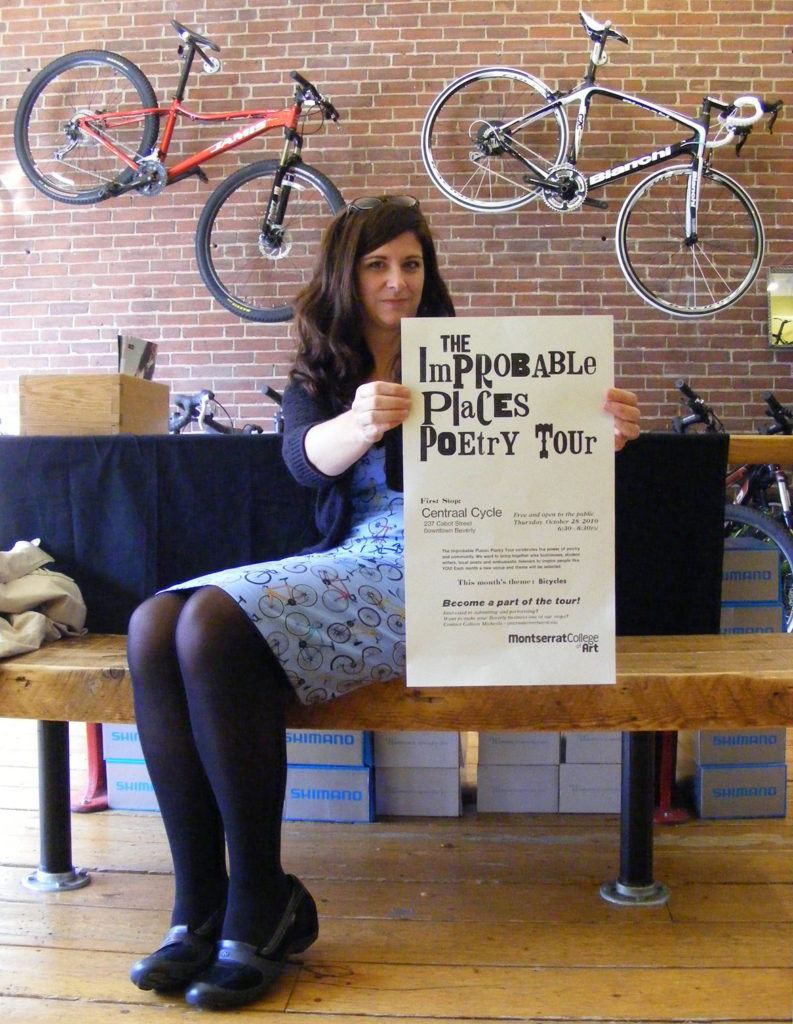 Colleen Michaels at Centraal Cycle for the first Improbable Places Poetry Tour reading in 2010. (courtesy)