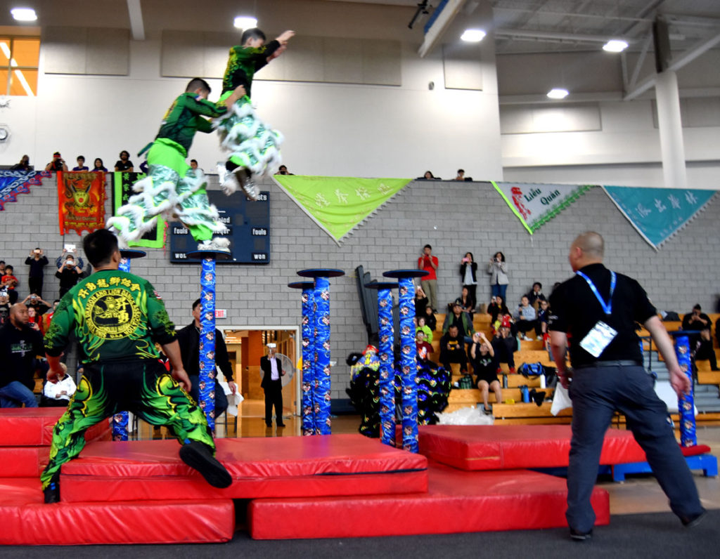 Jongs (Freestyle) lion dance demonstration at USDLDF Dragon and Lion Dance National Championships at Quincy High School Gymnasium, May 27, 2018. (Greg Cook)